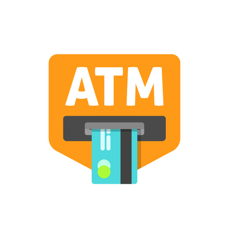 automatic transaction machine: ATM credit card sign vector illustration, cash machine inserting credit card, atm sign, electronic device, flat icon, modern simple design isolated on white red background