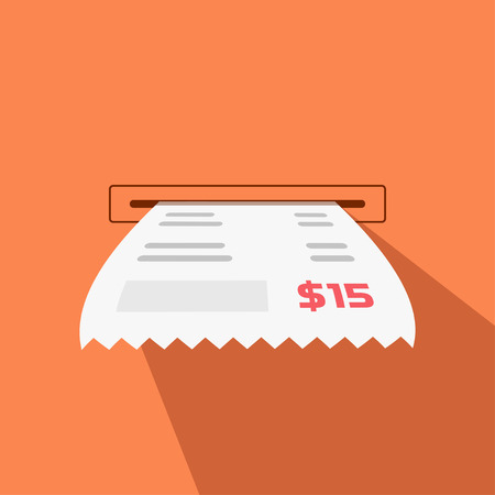 cash receipt: Paper receipt vector illustration from cash machine slot, invoice flat icon, cheque long shadow, bill design isolated on orange background