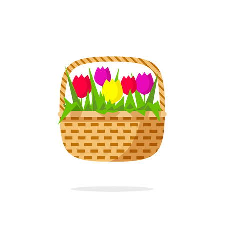 gift basket: Flowers basket vector icon, abstract flowers beauty bouquet with green leaves, tulips, concept of gift symbol, shop  , delivery emblem, flat modern illustration design isolate on white background Illustration