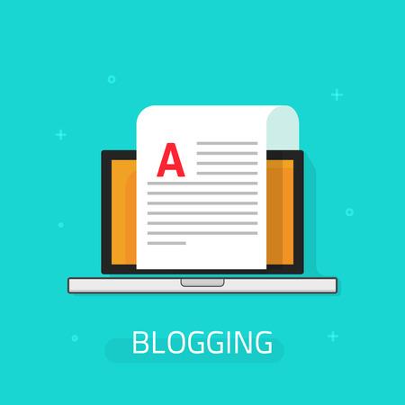Blogowanie ikon wektorowych na niebieskim tle, laptop z arkusza papieru i ilustracji abstrakcyjna tekstu, koncepcja bloga, pisanie listu e-mail, dokument animowany płaska Logo