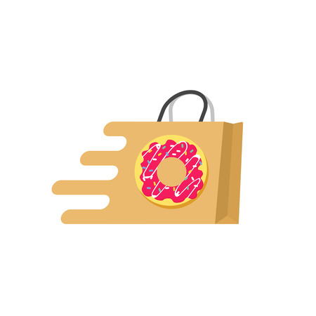 ordering: Food delivery vector  isolated on white background, concept of food ordering online service, supermarket , transportation of food, paper bag with sweet donut flat cartoon design Illustration
