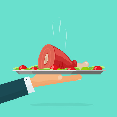 baked meat: Hand holding serving tray with hot cooked food vector illustration isolated on green, waiter with roasted meat on plate, catering concept, fresh cooked chicken leg, lunch, dinner flat cartoon design