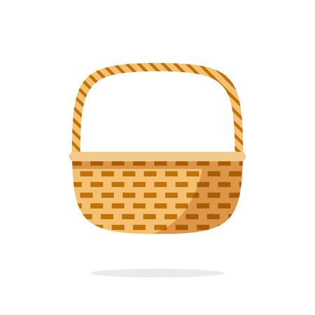 rattan: Wicker basket icon vector symbol, empty wicker basket illustration, flat simple modern illustration isolated on white background