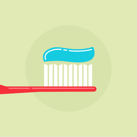 blue tooth: Toothbrush with toothpaste vector illustration, red tooth brush and blue tooth paste simple flat modern design isolated