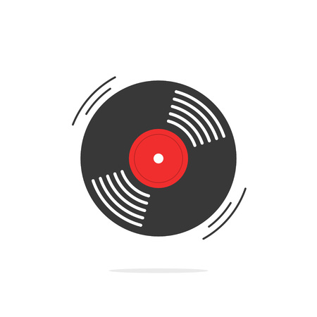 record label: Vinyl record vector icon, gramophone record symbol, rotating record vinyl disc, flat vinyl lp, cartoon vinyl record label, cover emblem modern simple illustration design isolated on white