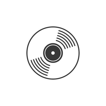 record label: Vinyl record vector icon, compact CD disk, DVD disc gramophone record symbol, rotating record disc, flat vinyl lp, cartoon vinyl record label, cover emblem modern simple illustration design isolated