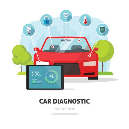 concept car: Car diagnostics test service, protection insurance service concept or car electronics parts service shop symbol. Repair help infographic elements. Modern smart technology design vector illustration.