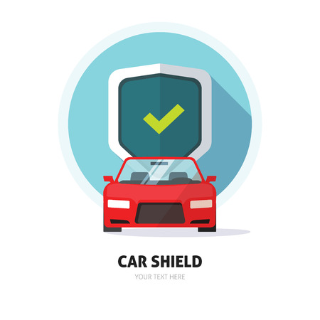 car tuning: Car guard shield sign, collision insurance shop store emblem auto tuning service red sport car front view, protection, driver flat security system badge. Theft modern design label illustration