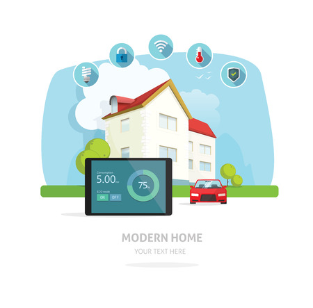 keyless: Smart home modern future house vector illustration flat, lighting, heating, air conditioning, saving energy, security safety, sun solar module power control technology system, house remodeling Illustration