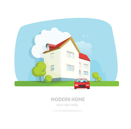 family in front of house: Home facade contemporary modern flat style. House traditional cottage vector illustration. Bright family smart home front view with garden, sport car. Lovely home landscape card or postcard for rent Illustration
