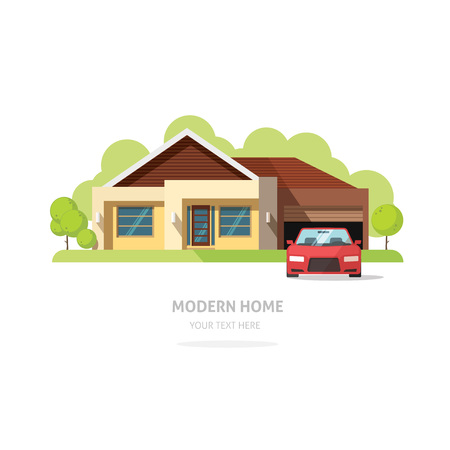 family in front of house: Home facade contemporary modern flat style. House traditional cottage vector illustration. Bright family home front view with trees, garden, garage. Lovely home landscape card or postcard