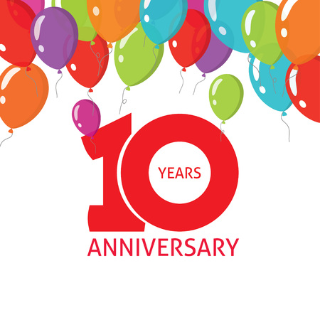 10th anniversary balloons poster number 1 one. 10 years anniversary icon sticker design. Ten years birthday party glossy balloon symbol. Tenth anniversary, badge, ribbon, banner, emblem, tag