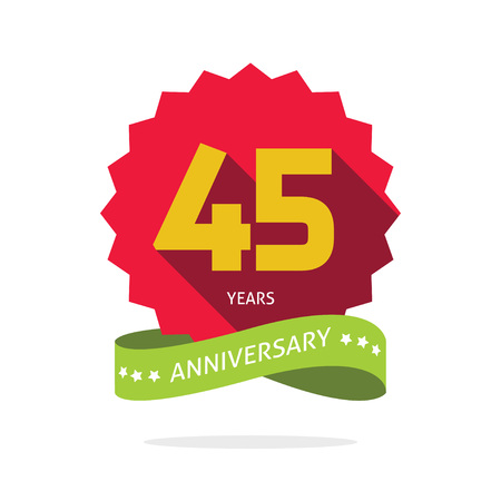45th: Years 45 anniversary vector label