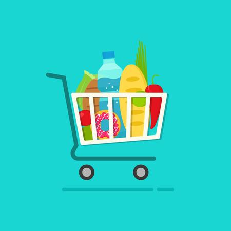 Boodschappen kar met vol verse producten illustratie geïsoleerd op een blauwe, platte cartoon boodschappen winkelmandje, concept van e-commerce trolley, winkels, supermarkt kar Vector Illustratie