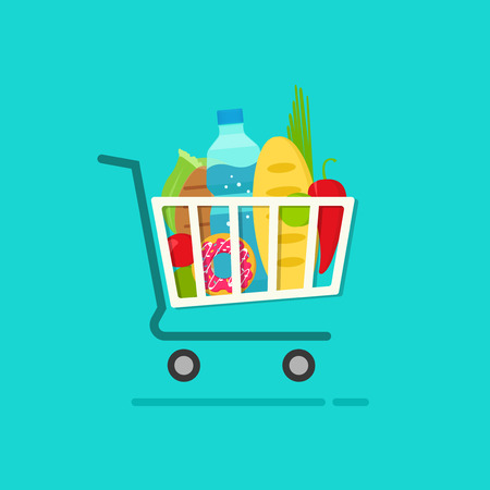 cart: Grocery shopping cart with full of fresh products vector illustration isolated on blue, flat cartoon groceries shopping basket, concept of ecommerce trolley, retail, supermarket cart