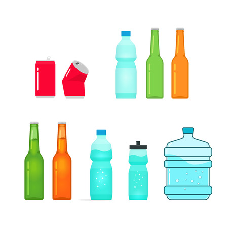 crushed cans: Bottles vector collection isolated on white, full and empty bottle of water, sport bottle, beer glass bottle, drink metal can, plastic bottle