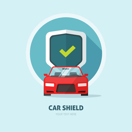 car care center: Car guard shield sign Illustration