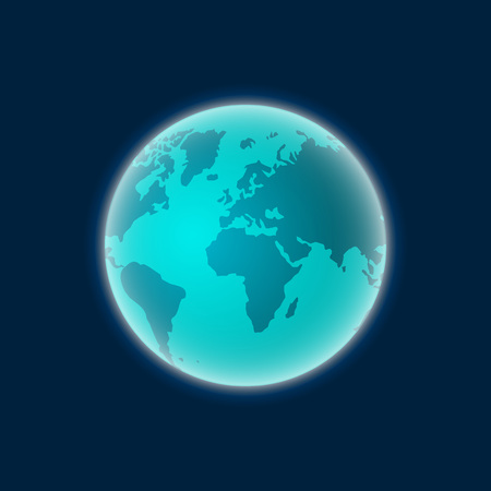 earth from space: Earth planet vector illustration isolated on dark blue background, smooth earth globe in space color earth Illustration
