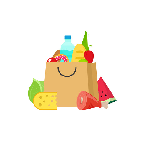 white paper bag: Grocery bag vector illustration isolated on white, paper bag of groceries flat cartoon, fresh food and drink products shopping bag, organic healthy products
