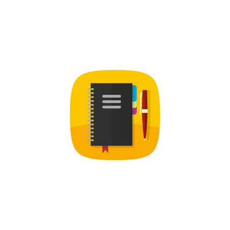 organizer: Notebook vector icon isolated on white, flat spiral notepad with pen app icon, cartoon black notebook organizer Illustration