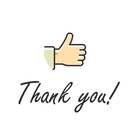 thumb up: Thank you note text vector illustration isolated on white, thumb up hand icon with handwritten thank you text Illustration