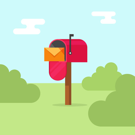 Mailbox vector illustration, flat post office box, red mail box cartoon design