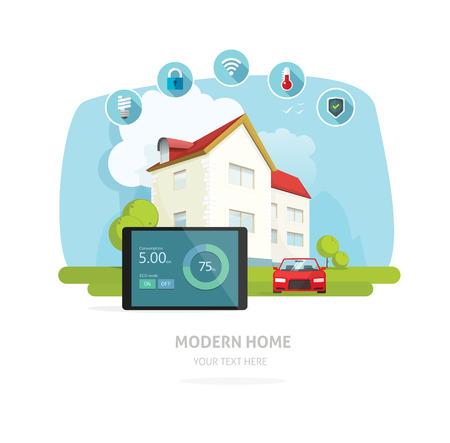 Smart home vector illustratie, een flatscreen smart house technologie systeem concept, eco energie automatisering voor thuis banner ontwerp