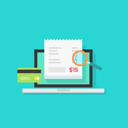 pay bill: Online payment audit analyzing illustration, pay bill tax research concept, financial accounting via laptop computer isolated, flat style Illustration