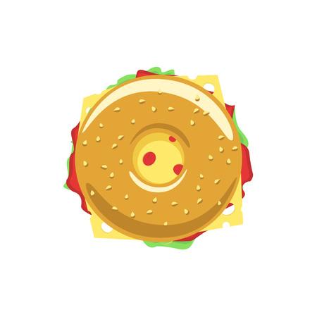 Bagel sandwich donut icône plat avec de la viande, hum, salade, fromage, beignet symbole de repas, la nourriture savoureuse, savoureux hamburger, magasin de restauration rapide emblème boulangerie design moderne isolé sur blanc Vecteurs