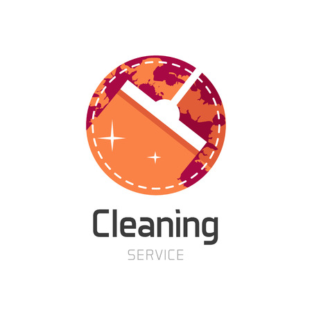 dry cleaner: Cleaning service , orange house cleaning symbol, home water cleaning circle emblem, wet cleaning, mop flat icon, simple sign, label sticker illustration design isolated on white