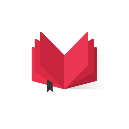 book store: Red open book with abstract pages, black bookmark , concept of book library flat icon, book store symbol, learning, booklet, e-book illustration modern design isolated on white background Illustration