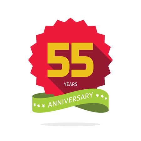 happy anniversary: 55 years anniversary label , shadow on star, number 55 five, 55th years anniversary icon. Fifty five birthday party symbol. Fifty fifth promotion sale sticker ribbon, poster, emblem Illustration
