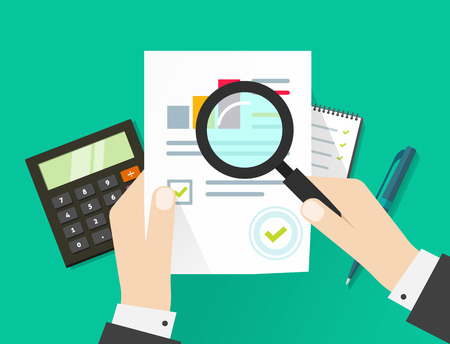 Vel papier, handen, vergrootglas, papierwerk, consultant, bedrijfsadviseur financiële audit, tax auditing proces, big data-analyse, seo analytics, financieel onderzoeksrapport, markt stats te berekenen Vector Illustratie