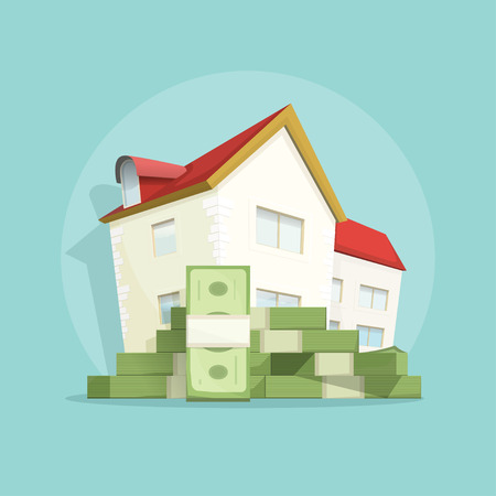 home expenses: House with pile of money, home real estate symbol, concept of housing bill growth , investment, mortgage, house loan, account, banking, outlay expenses modern poster design isolated