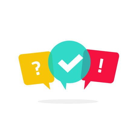 poll: Quiz vector logo isolate on white, questionnaire icon, poll sign, flat bubble speech symbols, concept of social communication, chatting, interview, voting discussion, talk team dialog, group chat,