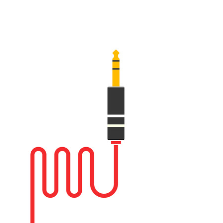 audio plug: Audio jack plug cable vector icon isolated on white background
