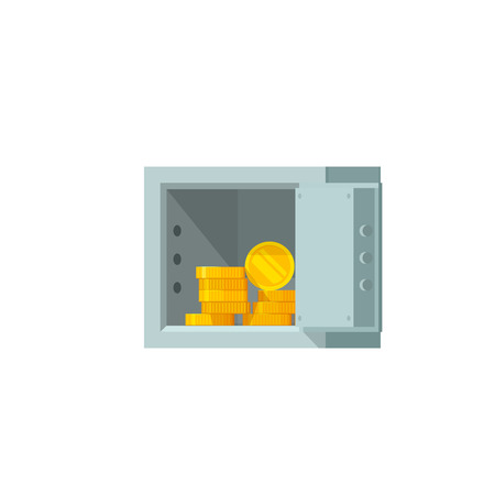 Open safe box with money vector illustration, flat cartoon open safe with golden coins, concept of banking, financial security