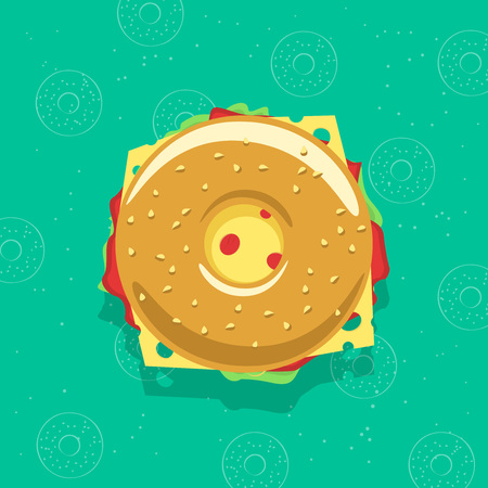 deli meat: Bagel sandwich vector illustration isolated on bagel background, concept of breakfast fresh fast food, flat cartoon sandwich Illustration