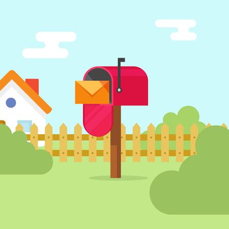 편지 봉투 및 집 풍경 벡터 일러스트 레이 션, 평면에서 빨간색 메일 상자를 엽니 다 여름 장면, 메일 배달의 개념