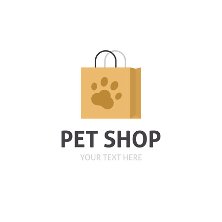 petshop: Petshop logo vector isolated on white, flat cartoon bag with pet shop symbol, pet store logotype