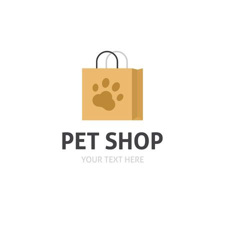 petshop: Petshop logo vector isolated on white, flat cartoon bag with pet shop symbol, pet store logotype
