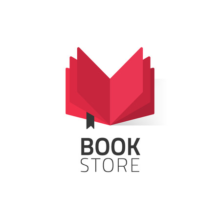 marca libros: Bookstore  vector illustration isolated on white, flat red open book logotype for bookshop, cartoon book icon design