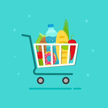 Grocery cart vector illustration isolated on color background, flat cartoon grocery shopping cart icon with fresh organic food products, groceries supermarket trolley
