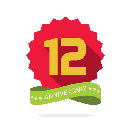 Anniversary badge with shadow on red starburst and yellow number 12 twelve.12th years anniversary icon, twelfth years symbol, green ribbon, vector emblem isolated on white