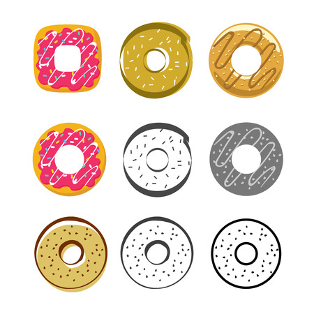 glazed: Donuts vector icons set isolated on white background, flat glazed donut, cartoon pink cream donuts, drawing donut, collection of sweet icing donuts Stock Photo