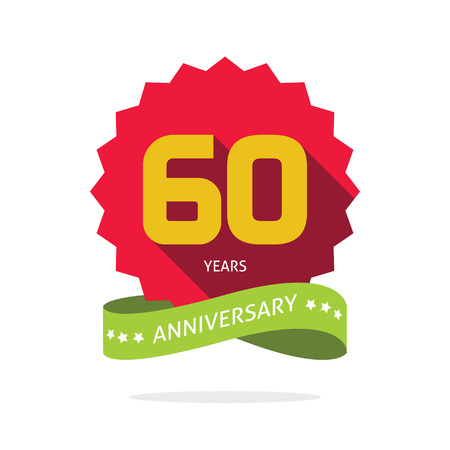 sixtieth: Years 60 anniversary vector label , shadow on star, number 60, 60th years anniversary icon. Sixtieth birthday party symbol. Sixty promotion sale sticker ribbon, poster, emblem