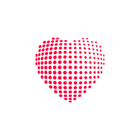 heart heat: Dotted heart, red heat dots icon, abstract heart shape modern design vector illustration isolated on white background
