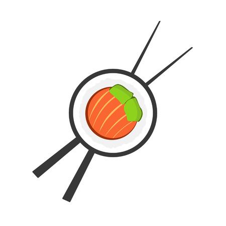 roll bar: Sushi roll with chopsticks logo, sushi logotype, sushi bar symbol, sushi roll flat icon, sushi close up emblem, cartoon vector illustration modern simple design isolated on white background