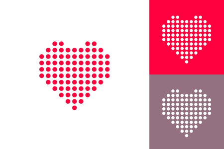 heart heat: Dotted heart icons set, red heat dots icon, abstract heart shape modern design vector illustration isolated on white red gray background Illustration