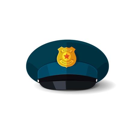 peak hat: Police hat vector illustration, blue officer cop cap with black peak and police badge design isolated on white Illustration